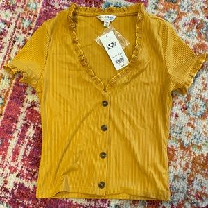 Yellow button front tee